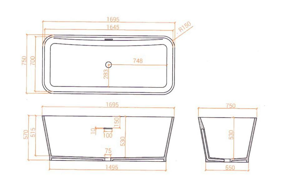 Baignoire betacryl b tub o 1695 zoizo acrylic cr ation for Mesure standard baignoire