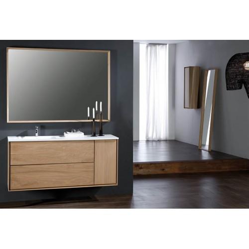 Miroir de salle de bain horizontal prenn en bois massif for Miroir horizontal